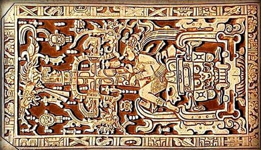 Храме надписей в Паленке, космонавт майя, плита саркофага