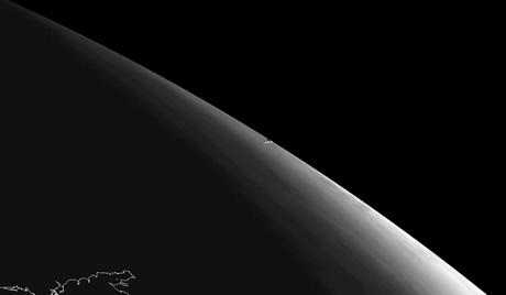 Снимок шлейфа Челябинского метеорита спутником Meteosat