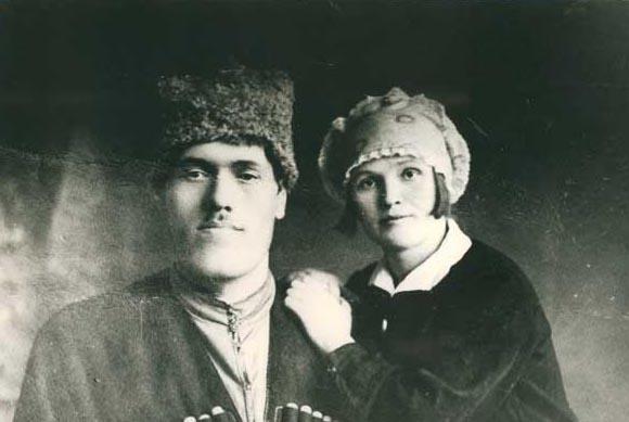 Русский богатырь Тимофей Силинский с женой