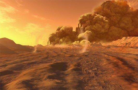Песчаный шторм на Марсе, Марс, NASA