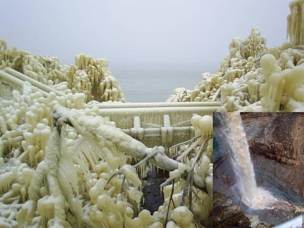 Замерзший водопад, чудеса, водопад Валасте