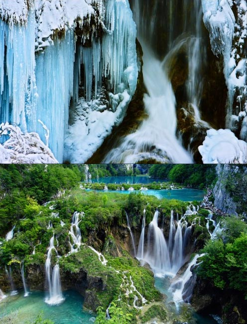 Замерзший водопад, чудеса, Плитвицкие озера