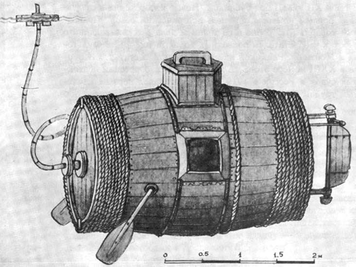 Леонардо Да Винчи, первая подводная лодка, Ефим Прокопьевича Никонов, Давид Бушнелл