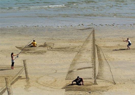 3d картины на песке, 3d картины, джейми харкинс, удивительные люди